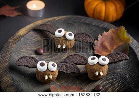 Chocolate bats for Halloween party. Funny creative food for kids