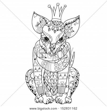 Hand drawn doodle outline dog in crown decorated with ornaments.Vector zen art illustration.Floral ornament.Sketch for tattoo or relax anti stress adult coloring pages.