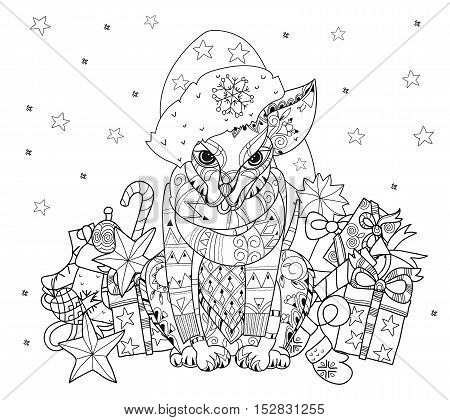 Hand drawn doodle outline dog decorated with ornaments in christmas hat .Vector zen art illustration.Floral ornament.Sketch for tattoo or relax anti stress adult coloring pages.