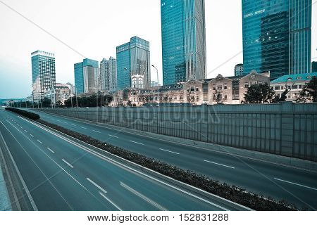 City Building Street Scene And Road Surface