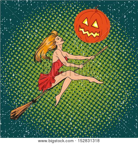Halloween concept vector poster in retro comic pop art style. Witch girl flying on a broomstick on pumpkin moon.