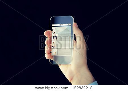 business, future technology, internet and people concept - close up of male hand holding and showing transparent smartphone with web site page on screen over black background