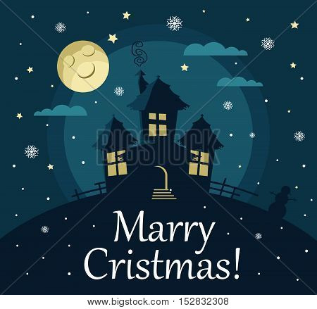 Poster, banner or background for Merry Christmas. House, moon, stars and snow. Modern flat design.