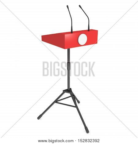 Red Speaker Podium on Tripod. White Tribune Rostrum Stand with Microphones. 3d render isolated on white background. Debate press conference concept