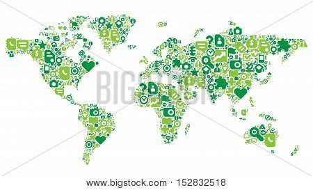 World Map concept. Made of 100 icons set in green colors. Vector illustration.