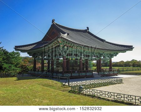 View of the Emperor's Donggung Palace and Wolji Pond in Gyeongju, South Korea.