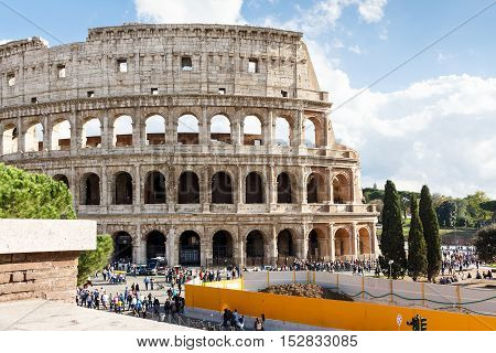 Ruins of the colosseum in Rome, Italy
