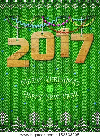 New Year 2016 of wood as christmas decoration. Christmas congratulation against knitted background. Vector illustration for new years day christmas winter holiday new years eve silvester etc