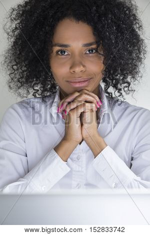 Close Up Of Cute Woman From Africa With Fingers Crossed