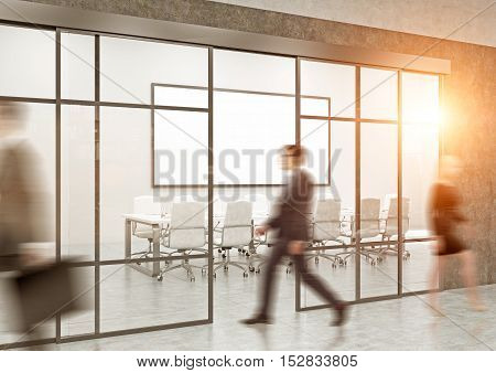 Busy office with conference room large whiteboard and people in corridor. Concept of office work. Toned image. 3d rendering. Mock up