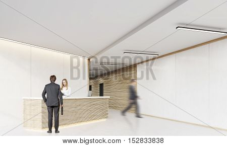 Rear view of man with suitcase standing near reception desk and talking to the secretary. His colleague is about to crash into the wall. 3d rendering. Mock up