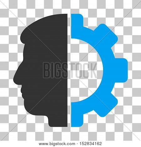 Blue And Gray Android Head interface toolbar pictogram. Vector pictogram style is a flat bicolor symbol on chess transparent background.