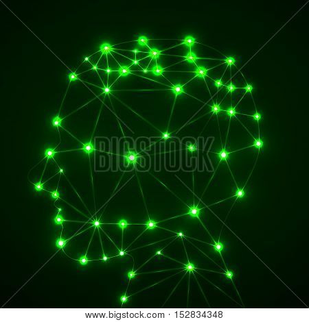 Abstract polygonal head with glowing dots and lines, network connections