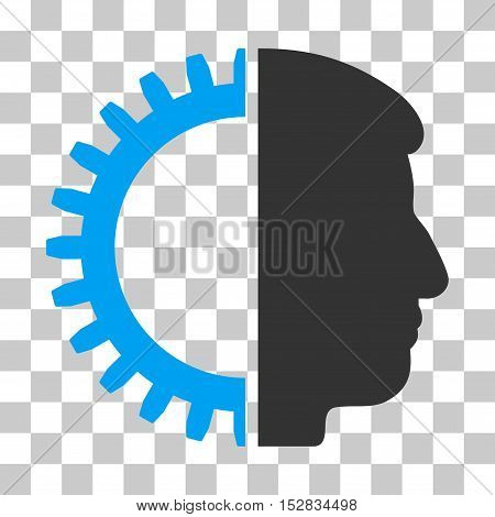 Blue And Gray Android Head toolbar icon. Vector pictograph style is a flat bicolor symbol on chess transparent background.