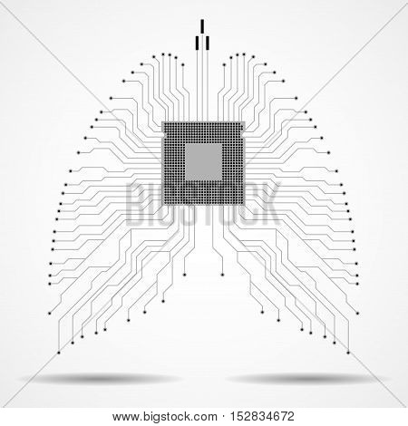 Abstract human lung, technology background, vector illustration