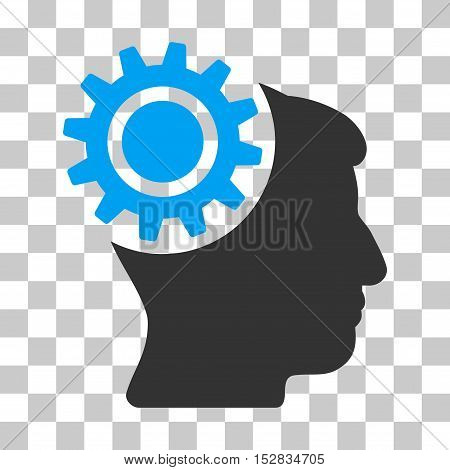 Blue And Gray Brain Gear interface toolbar icon. Vector pictogram style is a flat bicolor symbol on chess transparent background.