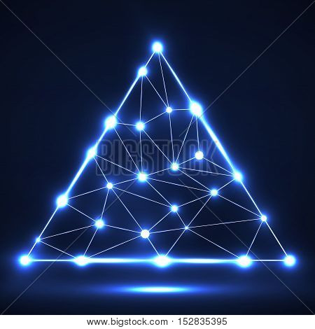 Abstract network in triangle with glowing dots and lines, network connections