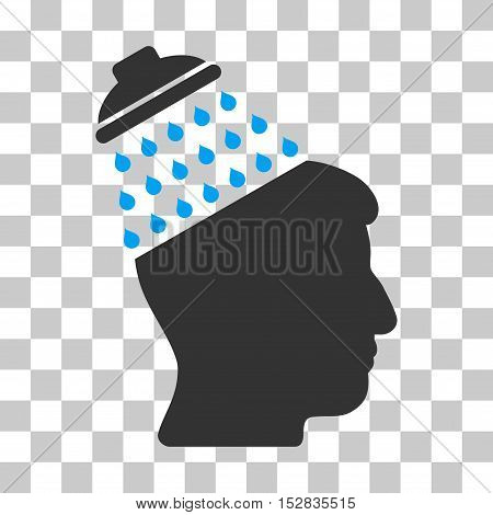 Blue And Gray Brain Shower interface pictogram. Vector pictogram style is a flat bicolor symbol on chess transparent background.