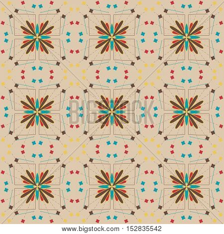 Seamless abstract pattern with lines and spots.