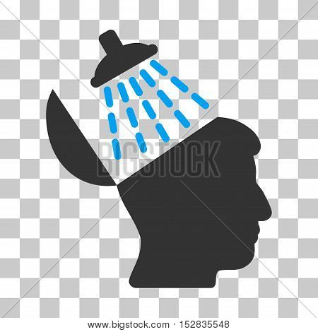 Blue And Gray Brain Washing interface toolbar pictogram. Vector pictograph style is a flat bicolor symbol on chess transparent background.