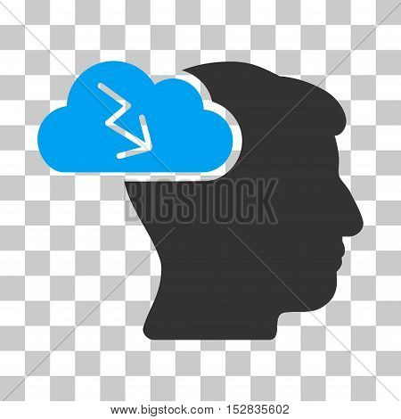 Blue And Gray Brainstorming toolbar icon. Vector pictograph style is a flat bicolor symbol on chess transparent background.