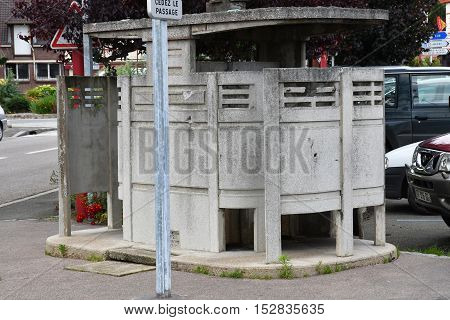 Neufchatel en Bray France - june 23 2016 : a public toilet