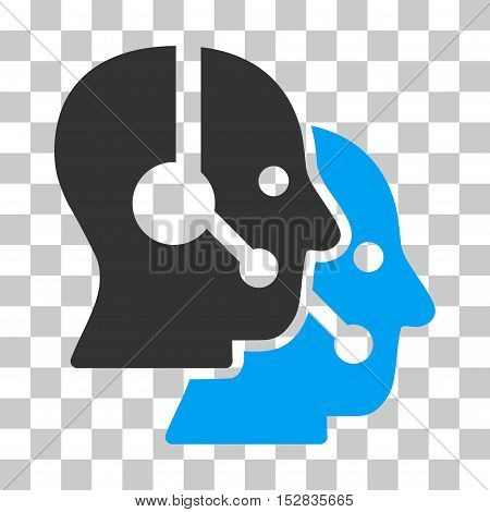 Blue And Gray Call Center Operators toolbar pictogram. Vector pictograph style is a flat bicolor symbol on chess transparent background.