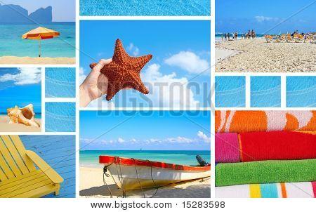 Summer beach theme collage.
