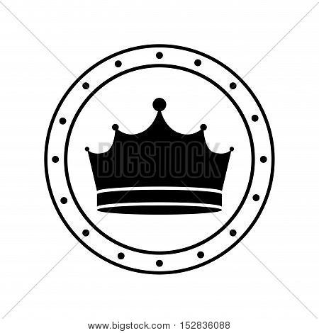 circle frame with king crown royal jewelry accessory icon silhouette. vector illustration