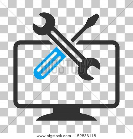 Blue And Gray Computer Tools interface toolbar pictogram. Vector pictograph style is a flat bicolor symbol on chess transparent background.