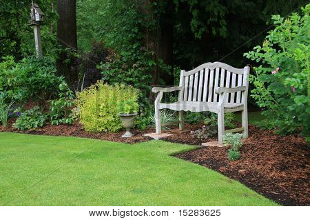 Wooden bench in a beautiful park garden.