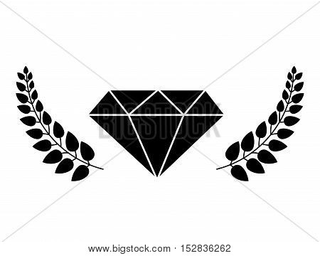 Diamond icon with leaves frame. gem jewelry and stone theme. Isolated design. Vector illustration