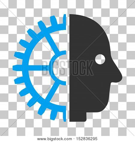 Blue And Gray Cyborg Head interface toolbar icon. Vector pictograph style is a flat bicolor symbol on chess transparent background.