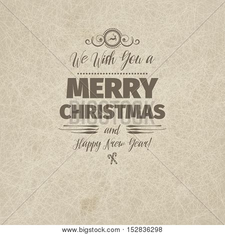 Vintage retro flat style trendy Merry Christmas card and New Year wish greeting. Vector illustration with brown text inscription on scratched beige sandy background for wallpaper, wallpaper, booklets