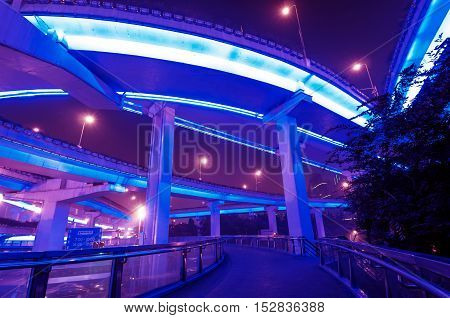 The busy night view of the viaduct in Shanghai, China.