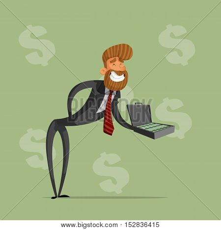 Happy businessman or manager holds a briefcase of money offers a bribe.