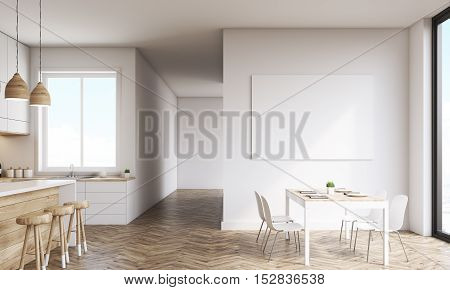 Kitchen With Poster And Windows