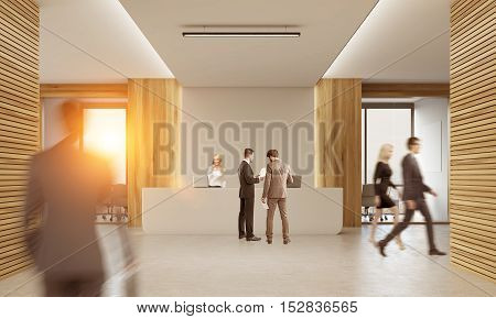 Front view of colleagues in corridor of office with reception counter and meeting room with glass doors. Concept of comfortable workspace. 3d rendering. Mock up. Toned image.