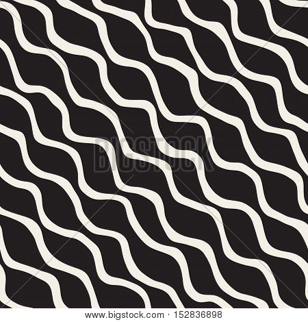 Vector Seamless Black and White Hand Drawn ZigZag Wavy Diagonal Stripes Pattern. Abstract Freehand Background Design