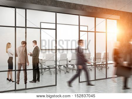 Busy office with conference room large whiteboard and people in corridor. Concept of business life. Toned image. 3d rendering. Mock up