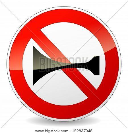 Illustration of horn prohibited sign on white background