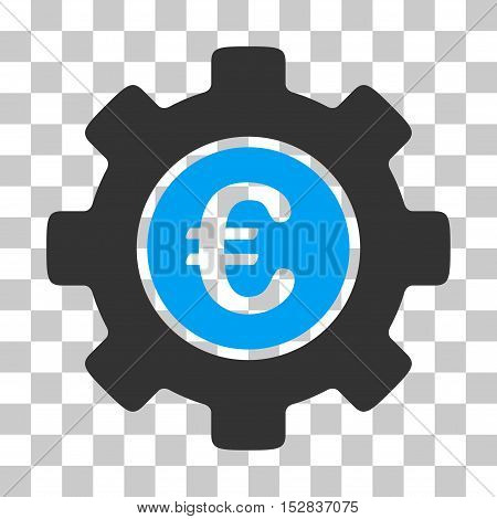 Blue And Gray Euro Development Gear interface toolbar icon. Vector pictogram style is a flat bicolor symbol on chess transparent background.