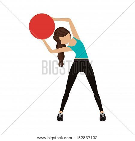 avatar woman training with  sport ball over white background. fitness lifestyle design. vector illustration