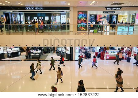 HONG KONG - CIRCA JANUARY, 2016: interior of New Town Plaza. New Town Plaza is a shopping mall in the town centre of Sha Tin in Hong Kong. Developed by Sun Hung Kai Properties