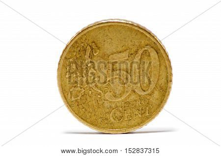 Room of fifty hundred of the euro put on the side on white bottom