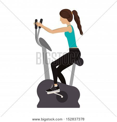 woman training on static bicycle gym equipment. fitness lifestyle design. vector illustration