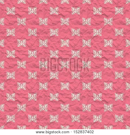 Seamless pattern with butterflies on a pink crumpled paper