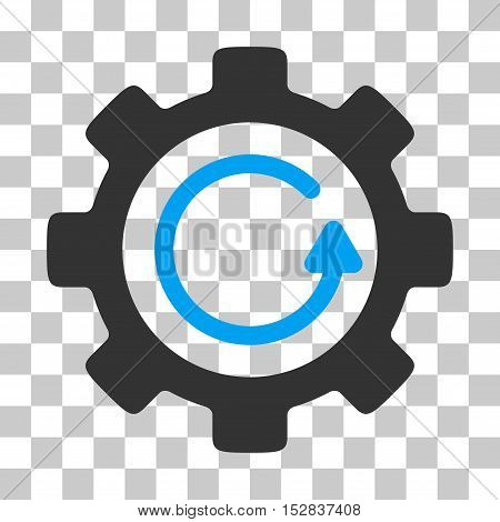 Blue And Gray Gear Rotation Direction toolbar pictogram. Vector pictograph style is a flat bicolor symbol on chess transparent background.