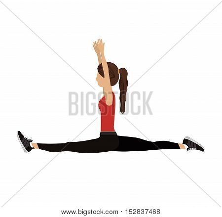 woman training yoga splits exercise with sport clothes over white background. fitness lifestyle design. vector illustration