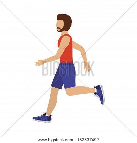 avatar man running with sport clothes over white background. fitness lifestyle design. vector illustration